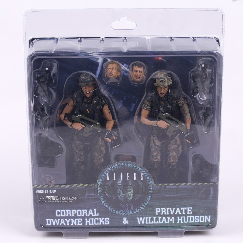 NECA Aliens Corporal Dwayne Hicks & Private William Hudson PVC Action Figure Collectible Model Toy 2-pack neca planet of the apes gorilla soldier pvc action figure collectible toy 8 20cm