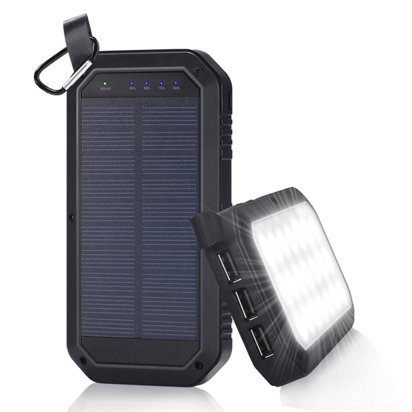 21 LED 8000mAh Portable Solar Powered Camping Light 3 USB Mobile Power Bank  For Android
