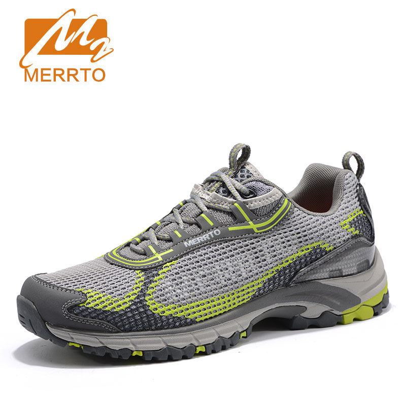 MERRTO Men Air Mesh Trekking Shoes Breathable Lightweight Outdoor Sports Walking Male Walking Shoes Memory Cushioning Sneakers