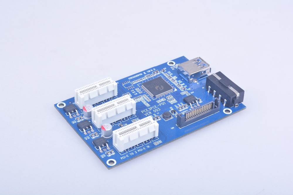 NEW Mini <font><b>PCIe</b></font> 1 <font><b>to</b></font> 3 <font><b>PCI</b></font> express 1X slots Riser Card Mini ITX <font><b>to</b></font> external 3 <font><b>PCI</b></font>-e slot <font><b>adapter</b></font> <font><b>PCIe</b></font> Port Multiplier Card image