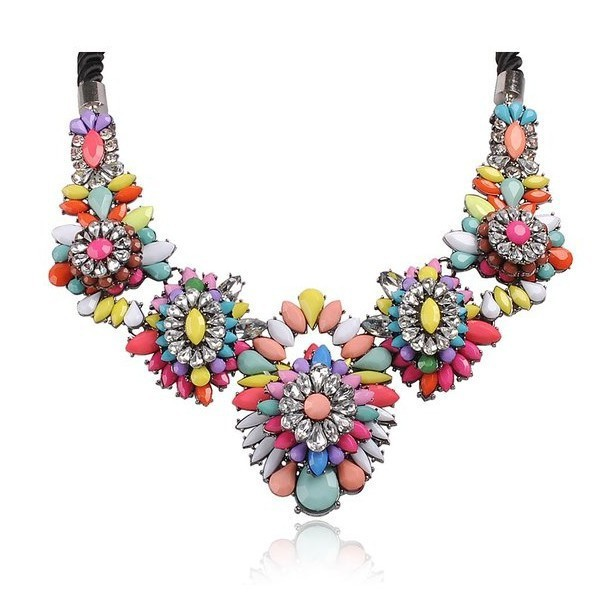 New 2014 Fashion Crystal Flower Chokers Necklace Luxury multicolor Shourouk jewelry for women Factory price