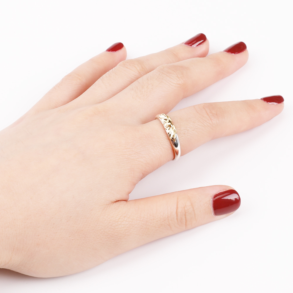 Women's 925 Sterling Silver Golden Lotus Ring 6