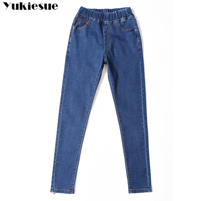 2019 Spring Summer Plus Size 5xl high Elastic Waist Stretch Ankle length push up mom Jeans for Women Skinny Pants Capris Jeans 6