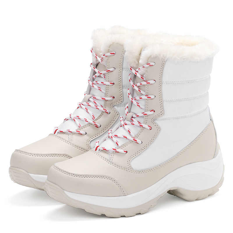 Botas impermeables con plataforma para Mujer, botines cálidos con tacón grueso de piel, para invierno, 2019