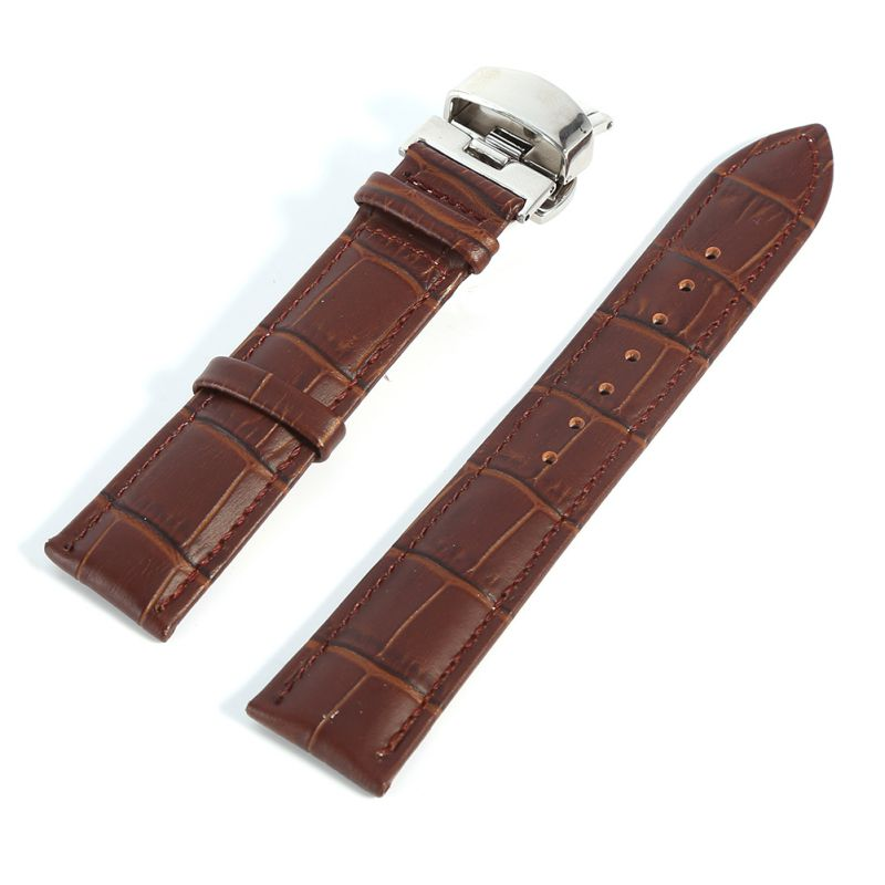 Leather Watchbands Strap Butterfly Clasp Solid Stainless Steel Black Brown Watch Band 16 18 20 22 24 26mm suunto core brushed steel brown leather