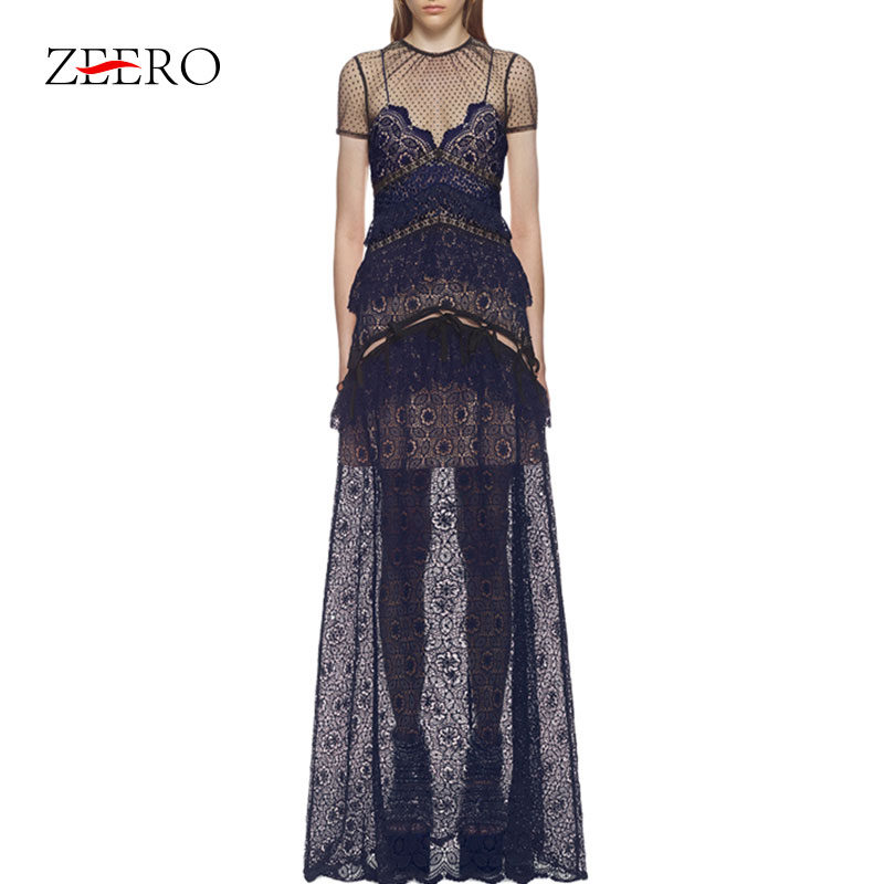 High Quality Self Portrait Runway Dress 2018 Embroidery Lace Patchwork Hollow Out Elegant Long Dresses Party