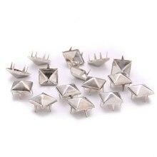 100 шт 6-12 мм круглые квадратные Шипы DIY сумки для одежды обувь заклепки для одежды Четыре Коготь Пирамида металлические шпильки аксессуары для одежды
