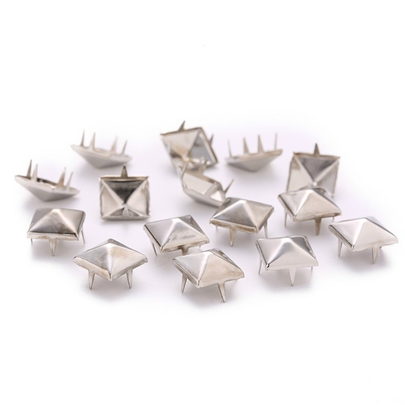 100PC 4-12MM Square Spikes Garment Four Claw Rivets for Clothes Bag Shoes Bracelets Belt Metal Pyramid Studs Apparel Aceessories,Silver,12MM