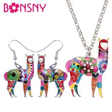 Bonsny Enamel Alloy South America Alpaca Earrings Drop Dangle Necklace Chain Pendant Jewelry Sets Cute Animal Bijoux Gift Femme(China)