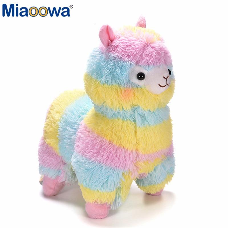 1 unid 35 cm Kawaii Rainbow Alpaca juguete ovejas de peluche japonés suave felpa Alpacasso Peluche de animales de peluche niños regalo de Cumpleaños