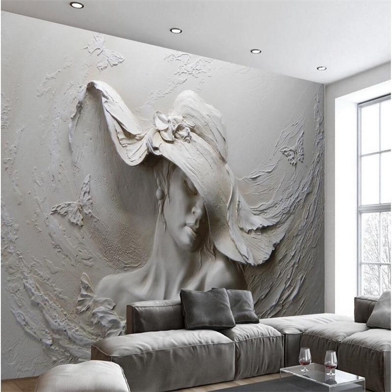 US $8.85 41% OFF|Beibehang tapete benutzerdefinierten hintergrund  fotografie grau schönheit hut ölgemälde kunst badezimmer wand mural für  wohnzimmer ...