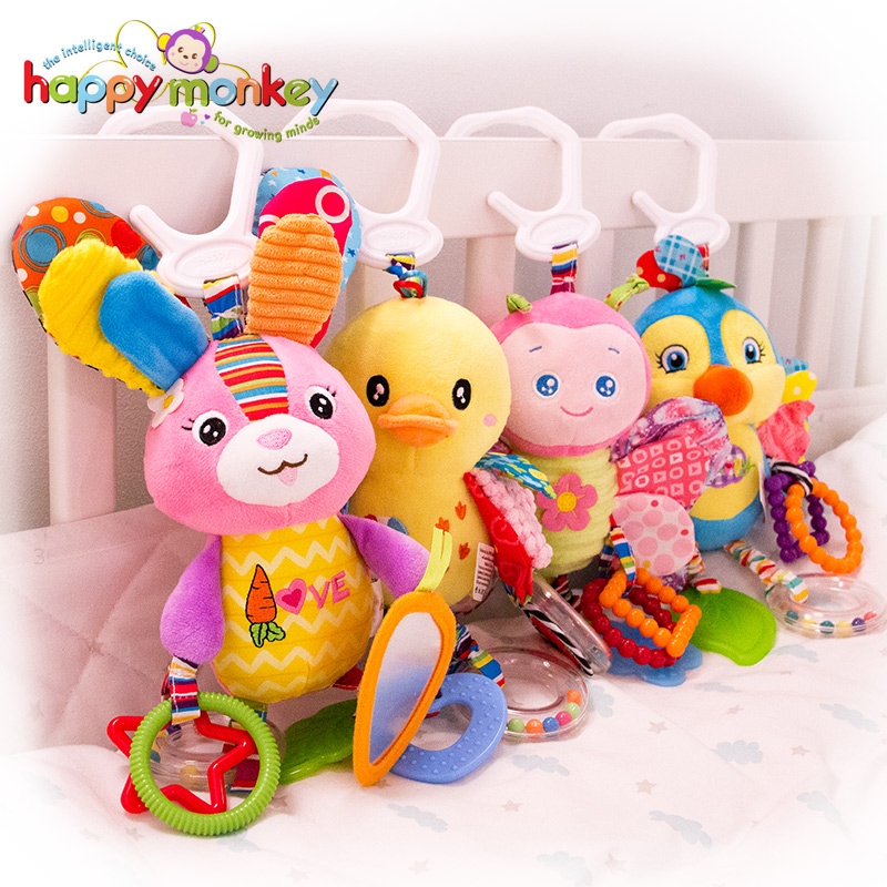 Baby Plush Stuffed Rattle Toys Stroller Hanging Animals Bed Mobile Infant Bunny Educational Toys For Children Gift Happy Monkey