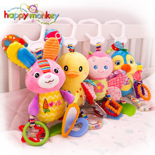 Baby Plush Stuffed Rattle Toys Stroller Hanging Animals Bed Mobile Infant Bunny Educational Toys for Children Gift Happy Monkey(China)