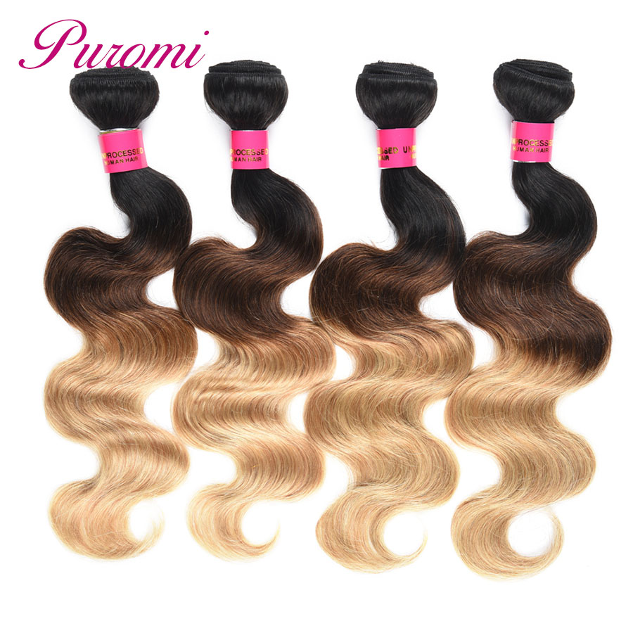 Puromi Brazilian Body Wave Honey Blonde Bundles Three Tone T1b/4/27 Hair Weave Bundles Non-remy 3pcs/lot Hair Extension