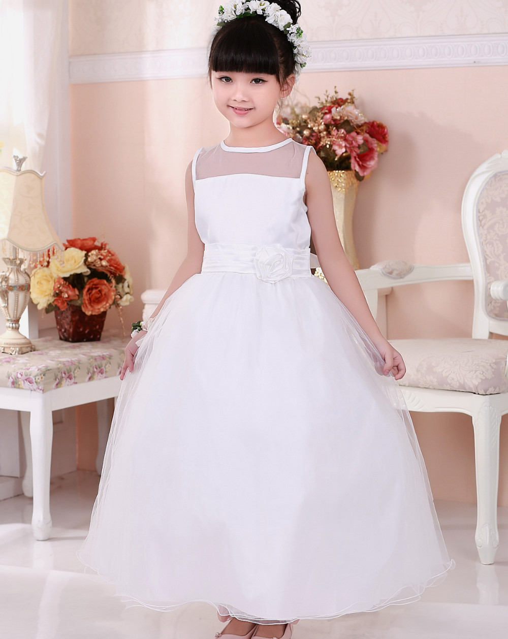 2015 New Girls Dress White Flower Belt Tulle Ankle-length Party Wedding Pageant Bridesmaid Princes Kids Clothing