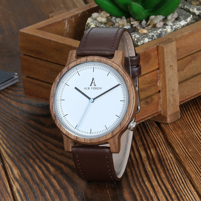 ALK Wood Watch Male Men Wooden Wrist Watches for Women Men 2018 Casual Couple Wrist watch leather brand watches Clock Fashion