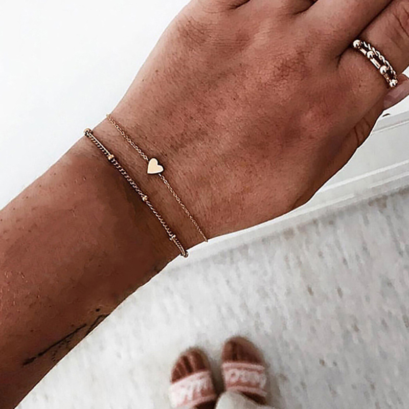 Cuteeco 2 Pcs/set Gold Color Tiny Heart Simple Beads Chain& Link Bracelet Set Temperament Beach Jewelry Accessories Dropshipping