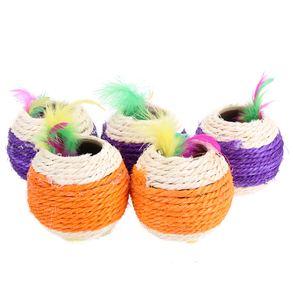 5pcs/lot Cat Toy Multicolor Two Holes Feather Sisal Rope Ball Toy for Cat Kitten Pet Funny Play Exercise Toy Pet Supplies