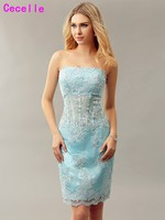 Sheath Blue Fitted Short Blue Cocktail Dresses Strapless Beaded Lace Knee Length Informal Prom Cocktail Party Gowns Real Photo