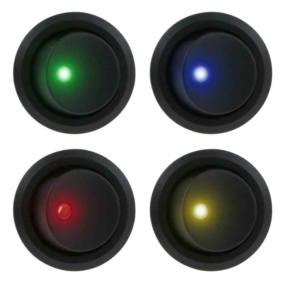 8 pièces DC 12 V 20A Voiture Bateau Camion Remorque Auto Illuminé 3 Broches À Bascule Rond bouton de commutation SPST INTERRUPTEUR 4 LED couleur