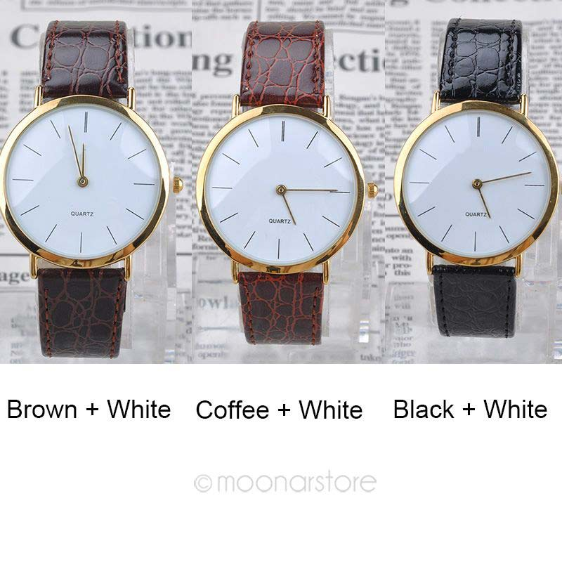 778c4009a Hot New Arrival Mens Boys Classic Faux Leather Band Gold Frame watches  Round Dial Analog Quartz Wrist watch -in Lover's Watches from Watches on ...