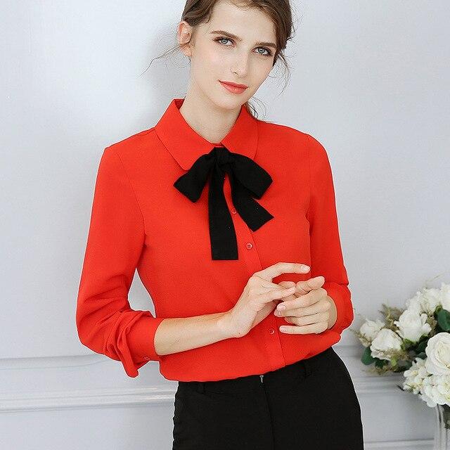41e6925f39b Primavera Verano blusas 2018 mujeres camisa roja manga larga solapa lazo  Delgado blusa oficina trabajo fiesta