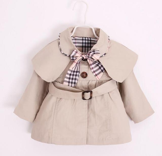 2017 Do Bebê Meninas Jaquetas Blusão Crianças Cap Cor Sólida Trench Coats Crianças Plaid Bow Algodão Casual Casacos Casacos