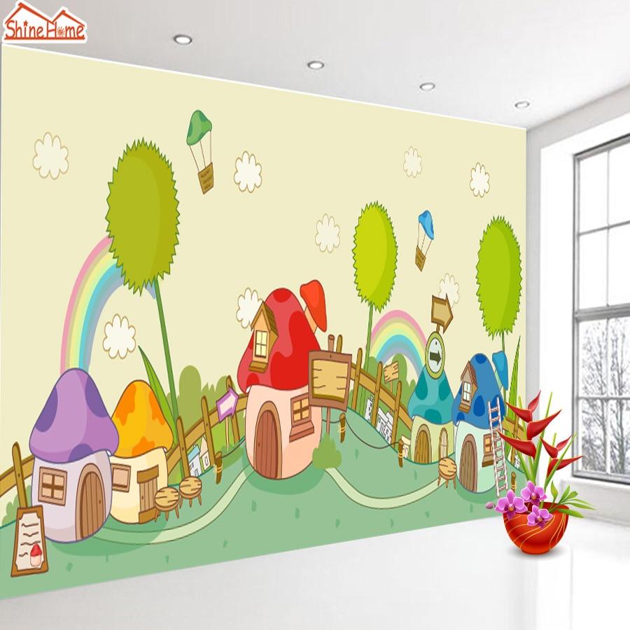 Bande Papier Peint Salon shinehome bande dessinée mignon maison château 3d papier