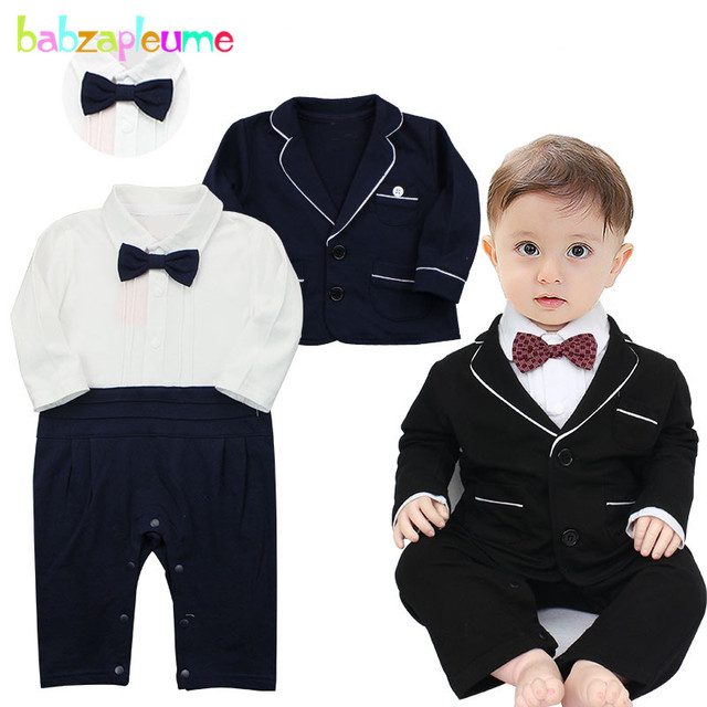83d4408ab56 spring autumn newborn clothing set for baby jumpsuit kids wear boys clothes  gentleman rompers+jacket 1st birthday outfits BC1499