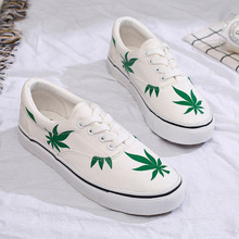 Hemp Leaf Women Canvas Shoes White Black Mixed Colors Ladies Spring Casual Shoes Lace Up Wild Breathable Platform Sneakers Women
