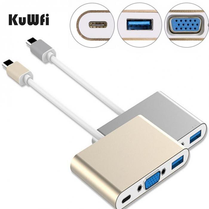 En Alliage d'aluminium Type C Chargeur USB 3.1 Type-C À VGA adaptateur Mâle À Femelle Convertisseur USB Hub De Charge Port Pour MacBook