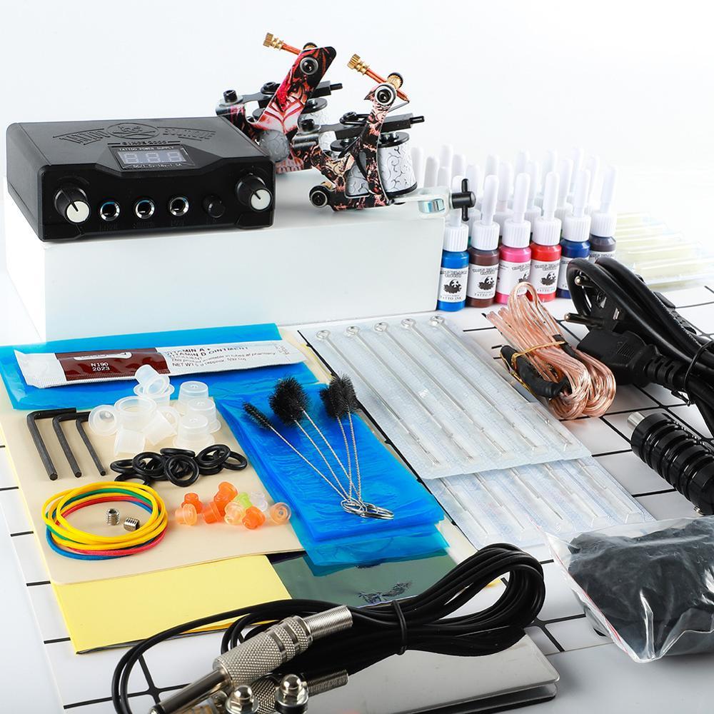 Complete Tattoo Kit 2 Guns Immortal Color Inks Power Supply Tattoo Machines Needles Tattoo Accessories Kits Permanent Makeup Kit