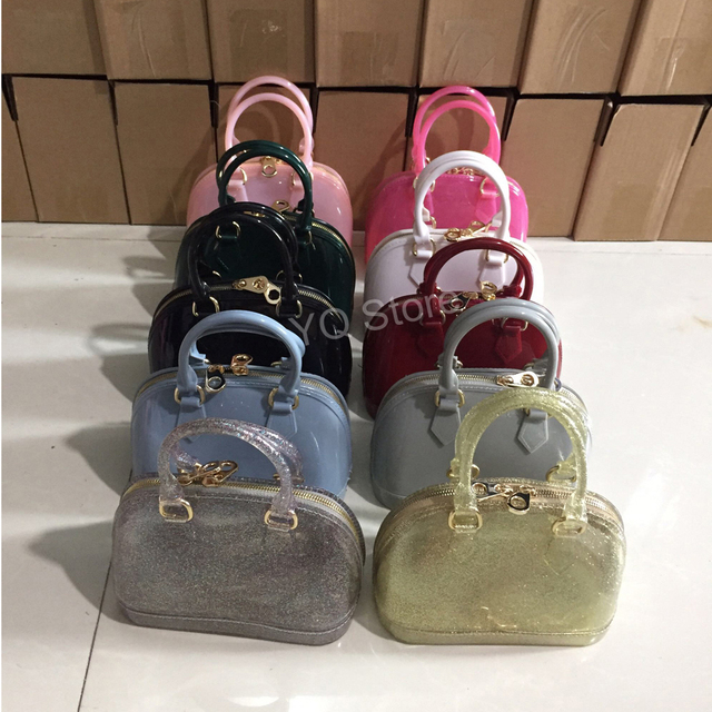 6cc0831776 Jellyooy 18.5 cm petite taille enfant filles PVC bonbons couleurs gelée sac  à main coquille sac
