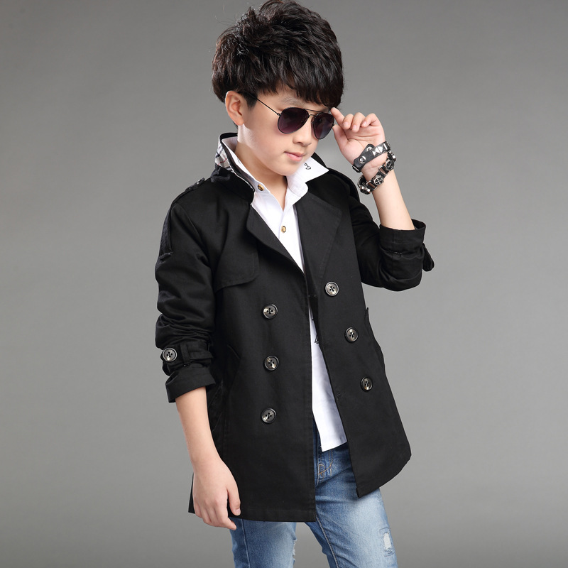 Elegant New Design Long Pattern Casual Boys Belted Trench Coat ...