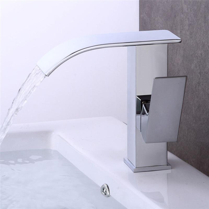 Bathroom Basin Faucet Waterfall Sink Faucet Chrome Brass Hot & Cold Basin Crane Tap Sink Mixer Tap Washbasin Torneira Grifo letter print raglan hoodie