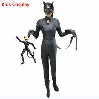 Kids Miraculous Ladybug Cat Noir Cosplay Miccostumes Costume With Mask Ladybug Black Romper Bodysuit Halloween Tight
