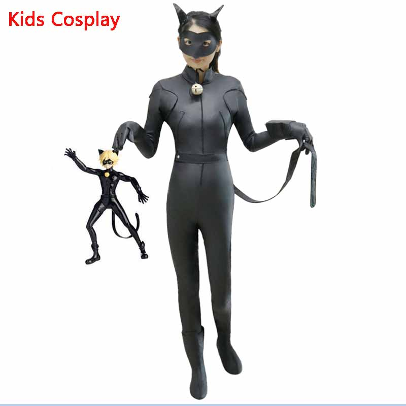 Kids Miraculous Ladybug Cat Noir Cosplay Miccostumes Costume With Mask Ladybug Black Romper Bodysuit Halloween Tight Jumpsuit подвесной светильник crystal lux deseo sp12 l1000 gold
