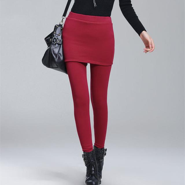Adicionar velo Lady quente Skinny Pants Plus Size S-4XL saia + calças compridas mulheres preto Leggings de inverno