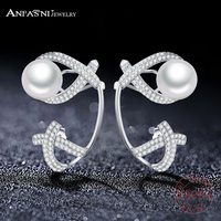 ANFASNI 925 Sterling Silver Elegant Round Simulated Pure Love Pearl Gepmetric Earrings For Women Fine Jewelry
