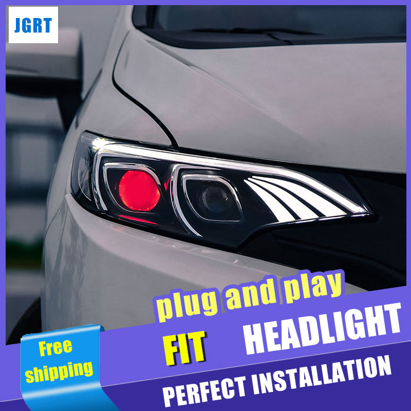 car styling For Honda Fit headlights assembly 2015-2016 for Honda Fit lights xenon H7 with hid kit 2 pcs.