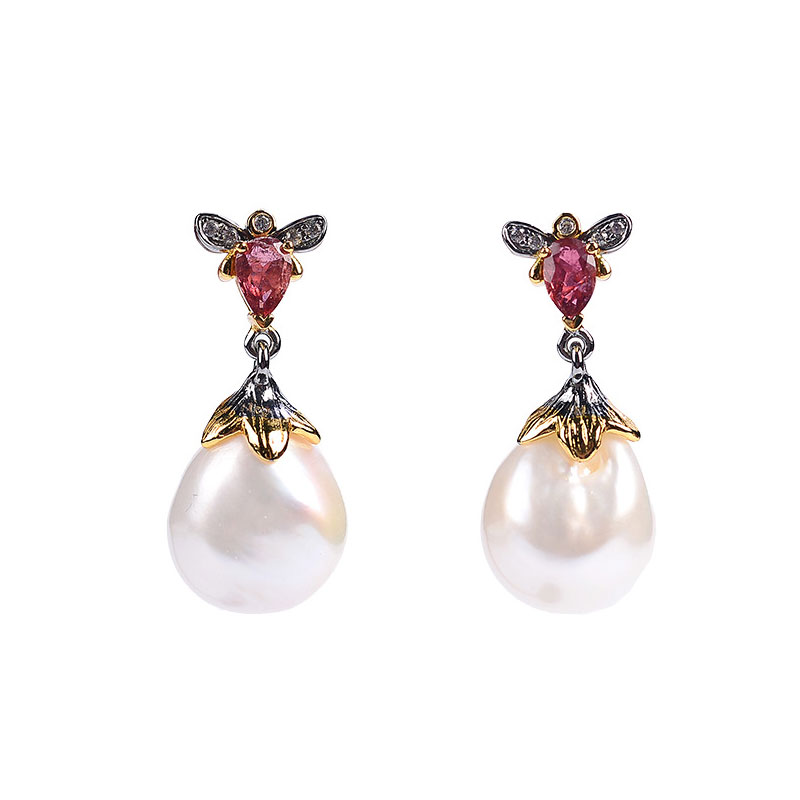 RADHORS  Earring Genuine 925 Sterling Silver inlay 100% Natural Baroque pearl Tourmaline earring Female luxurious JewelryRADHORS  Earring Genuine 925 Sterling Silver inlay 100% Natural Baroque pearl Tourmaline earring Female luxurious Jewelry