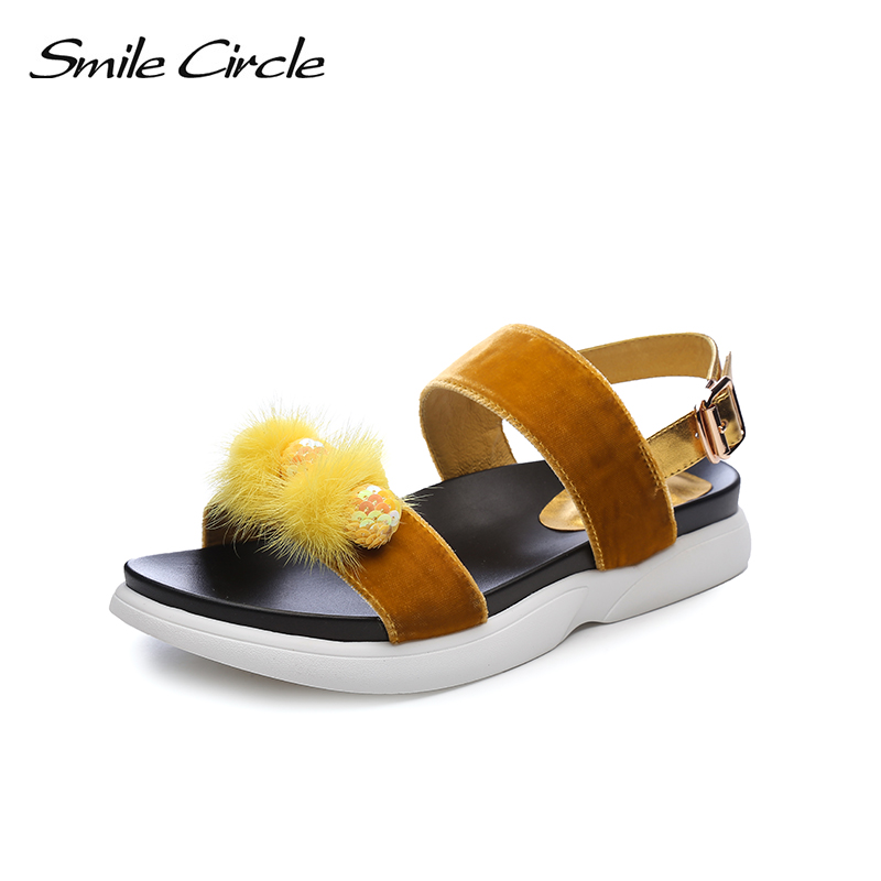 Smile Circle 2018 Summer Style Casual Sandals For Women Shoes Fashion Gold velvet flat Platform Sandals Open Toes Shoes instantarts women flats emoji face smile pattern summer air mesh beach flat shoes for youth girls mujer casual light sneakers