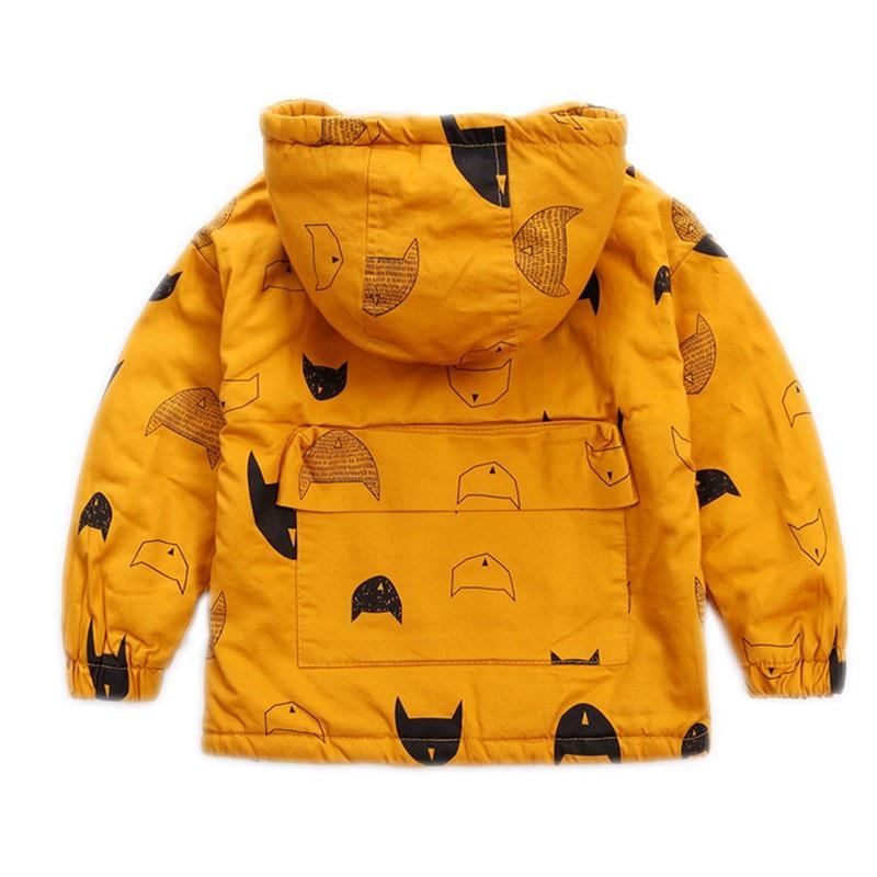 CROAL CHERIE 80-120cm Cute Printing Fish Fleece Kids Winter Jacket Boys Outerwear Clothing Girls Coats Velvet Baby Outerwear