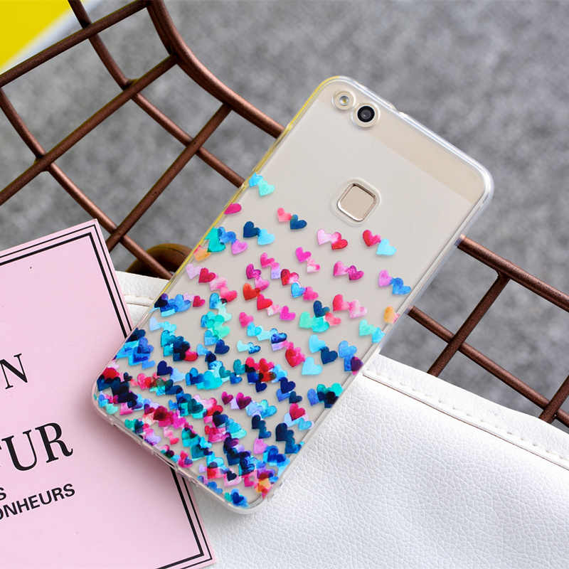 THREE-DIAO Soft TPU Case For Huawei Mate 10 P10 P9 P8 Lite 2017 Transparent Slim Pattern Cover For Huawei Honor 7X 6X 7 8 Cases