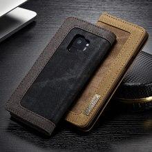 Для samsung Galaxy S6 S7 край S8 S9 плюс CaseMe Магнитная деним Бумажник Стенд чехол для Galaxy Note 8 крышка держатель для карт телефона