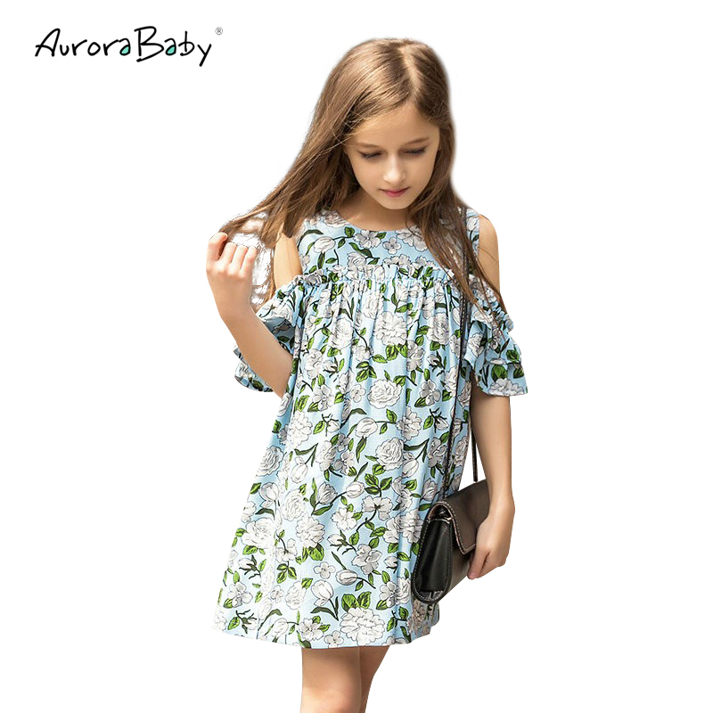 AuroraBaby Green Girls Dresses Bold-Shoulder Chiffon Fashion Dress For Girl Children Clothes Summer Autumn Holiday Party 6-16