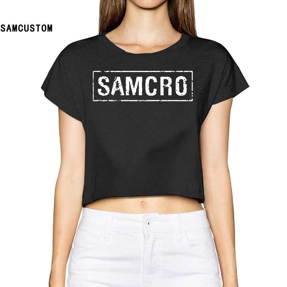 SAMCUSTOM Camisetas настоящие короткие Tumblr 2017 Samcro новые 3d летние модные уличные футболки анархия голые-midriff сексуальные футболки для женщин