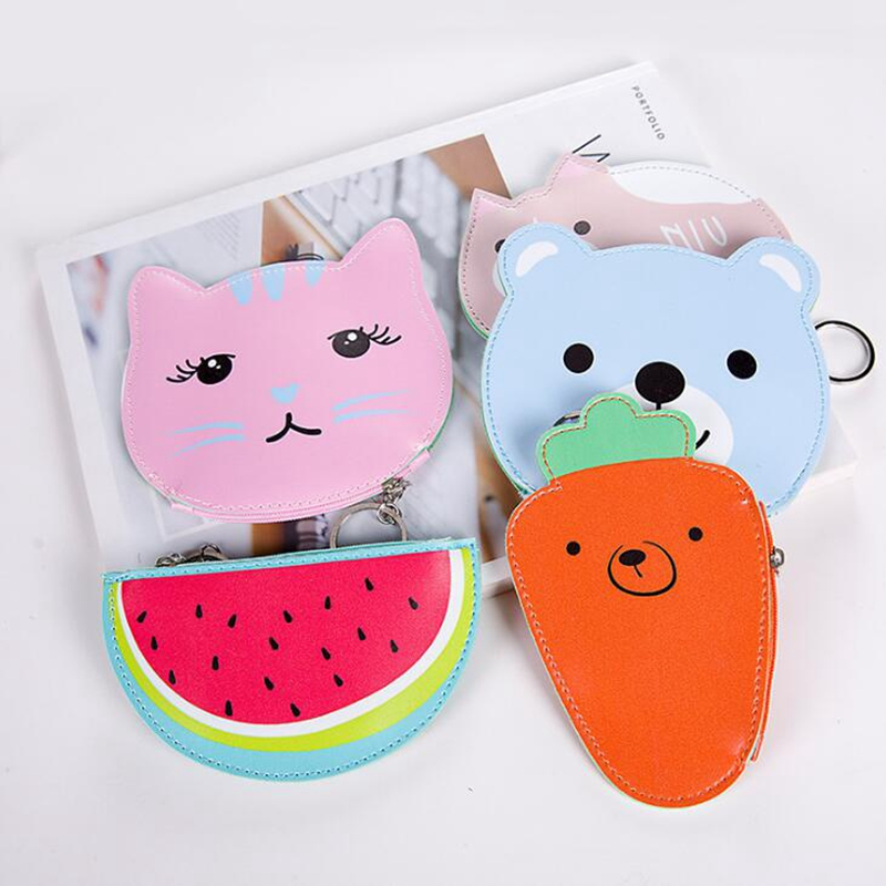 Women Cartoon Cat Coin Purses Holders Cute Carrot PU Leather Pouch Kawaii Children Kids Girl Wallet Small Keys Bag Carteira Gift