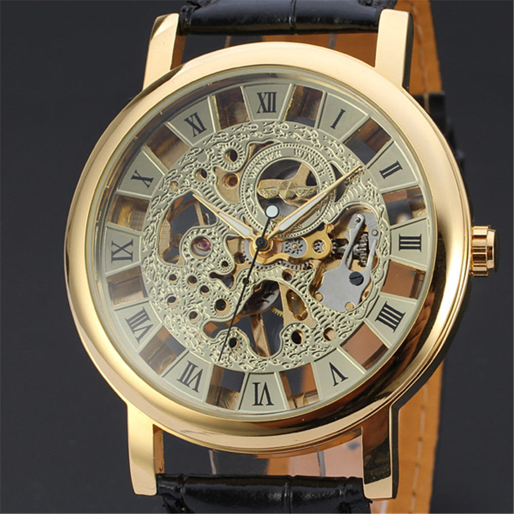 New WINNER Mens Wrist Mechanical Watch Men Top Brand Luxury Clock Business Army Watches Sport Military Ultra Big Clocks 107