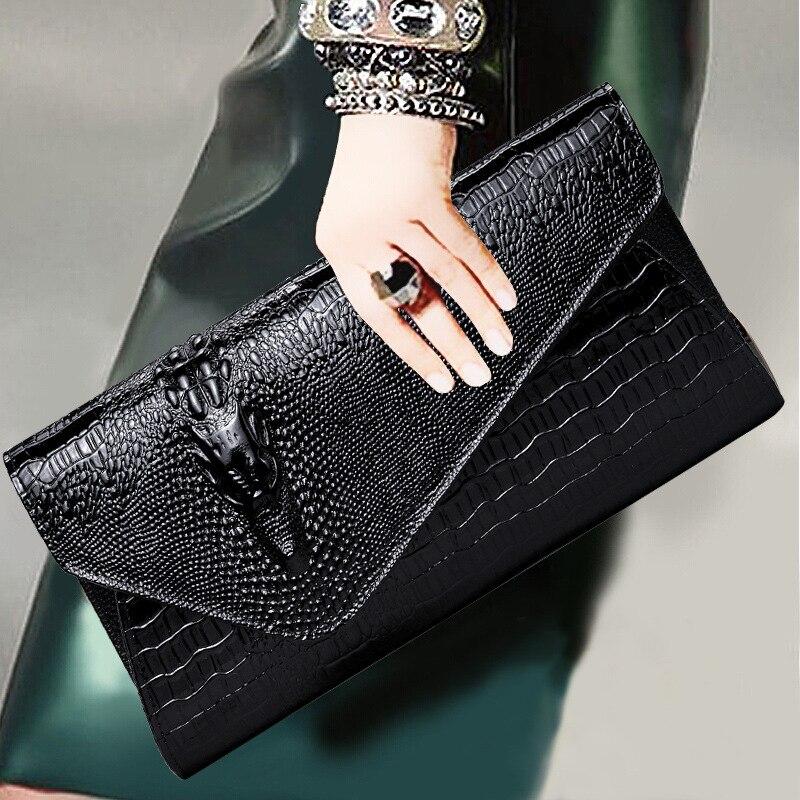 Top-handle Bags Fashion Genuine Leather Women Bags Vintage Handbags Crocodile Skin Messenger Bag Female Leather Clutch Ladies Chain Shoulder Bag Women's Bags